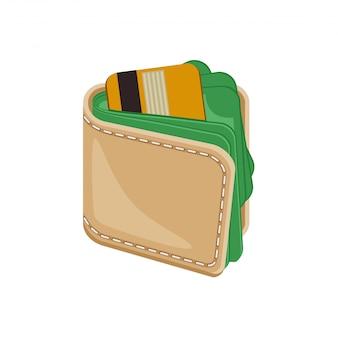 Skórzany zszywany portfel z pieniędzmi.