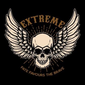 Skrajny. skrzydlata czaszka na czarnym tle. element projektu logo, etykiety, godła, znaku, plakatu.