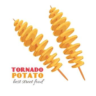 Skręcone spiralne wióry. ziemniak tornado. ilustracja fast food