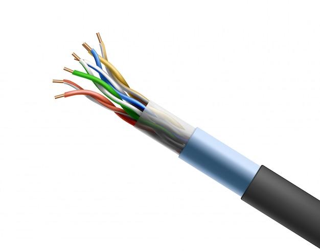 Skręcony kabel na białym tle