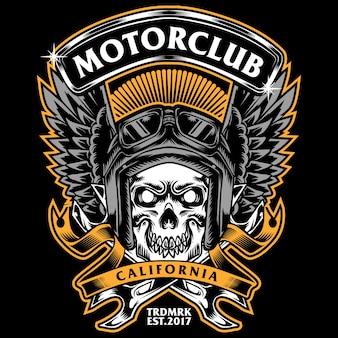 Skrzydła Czaszki I Klucza Tees Design Motorclub I Grafiki Samochodowej Premium Wektorów