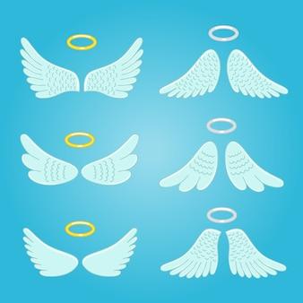 Skrzydła i nimbus. skrzydła aniołów z piór