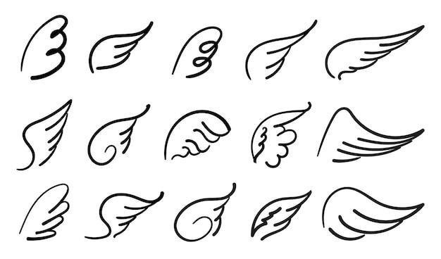 Skrzydła ptaki i anioł kreskówka doodle ptak tatuaż skrzydło ikona pióro szkic kolekcja handdrawn