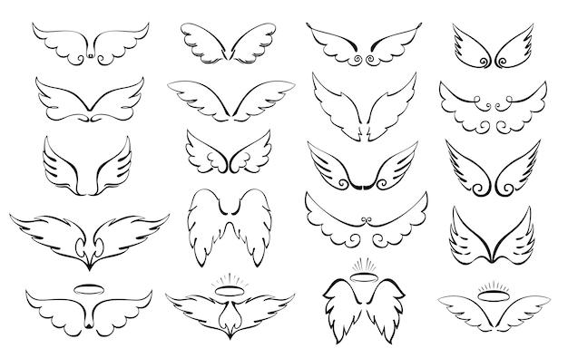 Skrzydła to duży zestaw skrzydła i halo anioł skrzydlaty chwała halo cute cartoon doodles ilustracji wektorowych