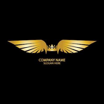 Skrzydlata korona złote logo / ilustracja wektorowa.