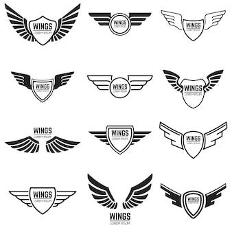 Skrzydlate emblematy, ramki, ikony, skrzydła anioła i feniksa. elementy, godło, znak, znak marki. ilustracja.