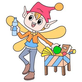 Skrzydlaty człowiek krasnolud bajki robił zakupy na artykuły spożywcze, ilustracji wektorowych sztuki. doodle ikona obrazu kawaii.
