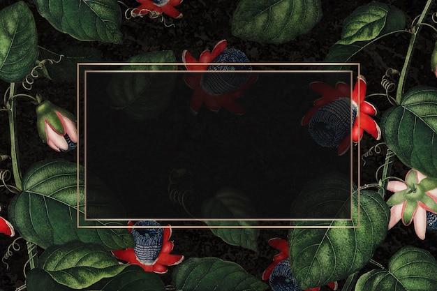 Skrzydlaty prostokątna ramka z kwiatem pasji