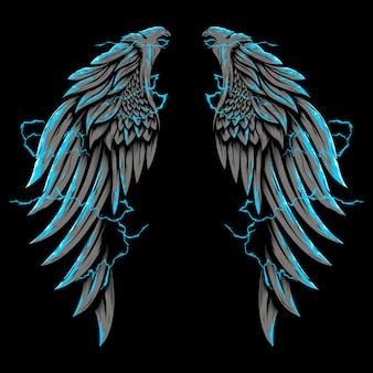 Skrzydło orła otoczone oświetleniem