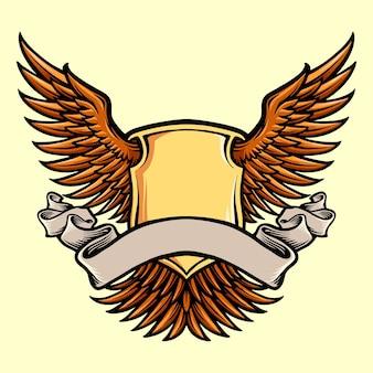 Skrzydło tarcza odznaka z ilustracje wstążki