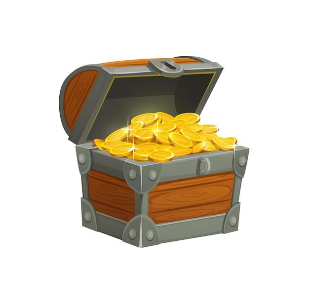 Skrzynia skarbów piratów kreskówka ze złotymi monetami. otwarta skrzynia drewniana ozdobiona fałszerstwem pełnym błyszczących sztuk złota na białym tle. element interfejsu użytkownika gry fantasy lub aplikacji mobilnej