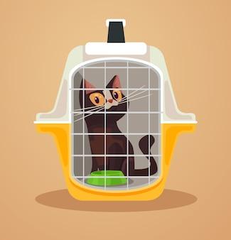 Skrzynia transportowa kota ilustracja walizki transportowej