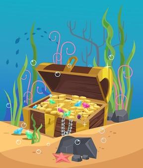 Skrzynia ze złotem na dnie oceanu. kreskówka