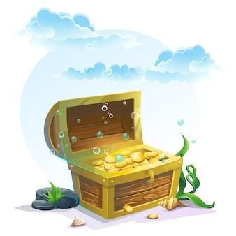 Skrzynia ze złotem w piasku pod błękitnymi chmurami - ilustracji wektorowych