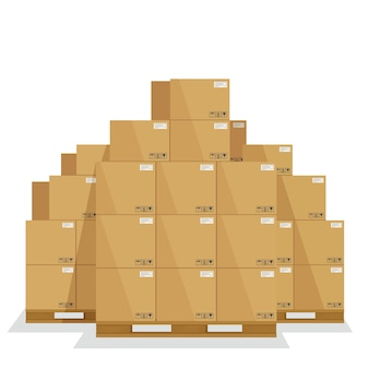 Skrzynie dostaw na drewnianej palecie