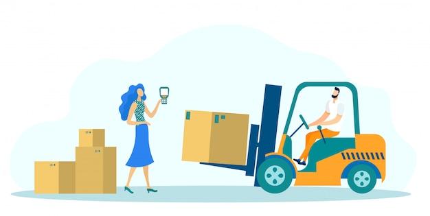 Skrzynie na wysyłkę dostawy, pojazd ciężarowy z ładowarką.