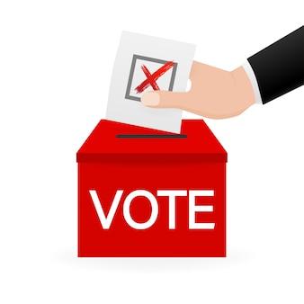 Skrzynka do głosowania, idealna do wszelkich celów. ręka do głosowania. minimalne. ilustracja.