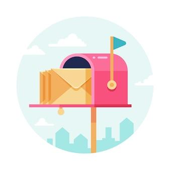 Skrzynka na listy z kopertami. skrzynka pocztowa. koncepcja wysyłania i odbierania poczty