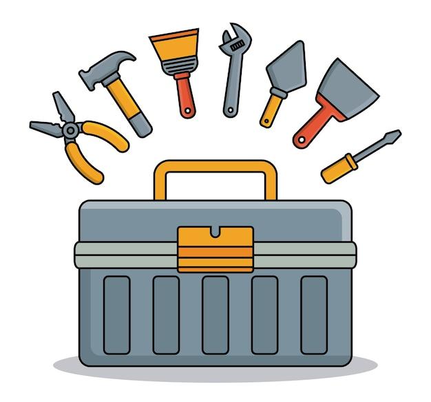 Skrzynka narzędziowa i ikony związane z narzędziami do naprawy