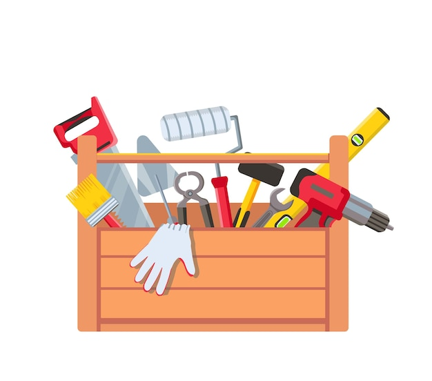 Skrzynka narzędziowa z wyposażeniem. drewniana skrzynka narzędziowa zawierająca piłę, wiertarkę, zacieraczkę i poziomicę budowlaną. narzędzia do naprawy domu. koncepcja wektor konserwacji. ilustracja konstrukcja skrzyni, sprzęt młotek i piła