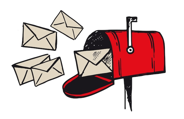 Skrzynka pocztowa szkic ręcznie rysować ilustracja