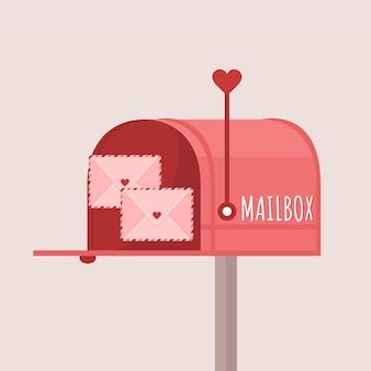 Skrzynka pocztowa z listami miłosnymi na jasnofioletowym tle