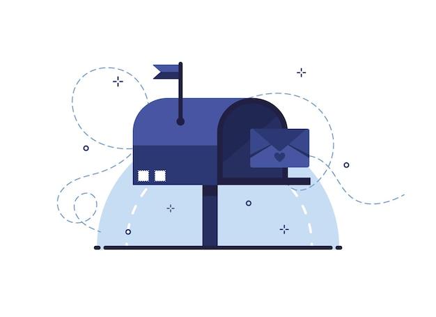 Skrzynka pocztowa z listem w kopercie jako list odbierający lub wysyłający pocztą. niebieski