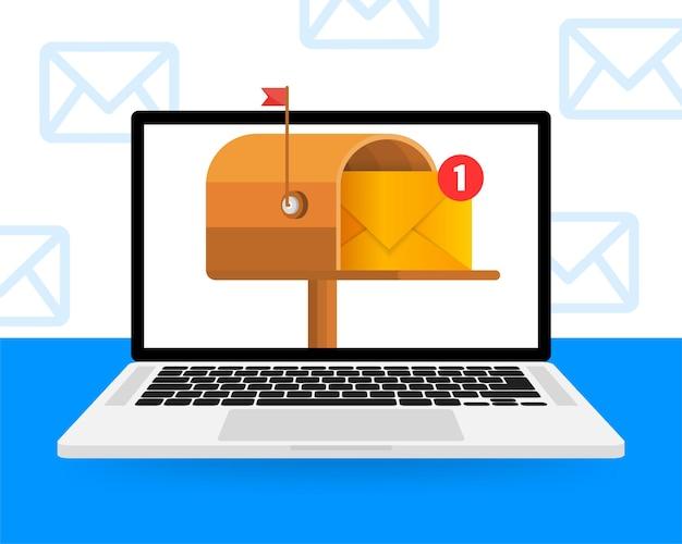 Skrzynka pocztowa z listem w środku płaska na żółto