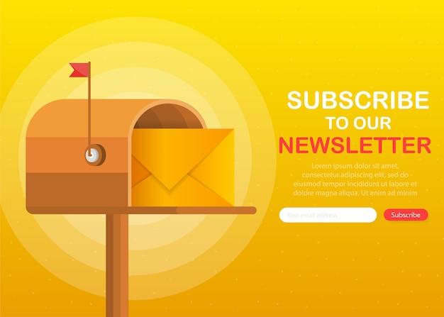 Skrzynka pocztowa z listem w środku w stylu płaski na żółtym tle. zapisz się do naszego newslettera.
