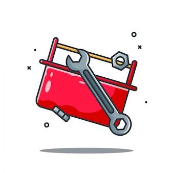 Skrzynka z narzędziami i klucze projekt ilustracji w stylu kreskówki