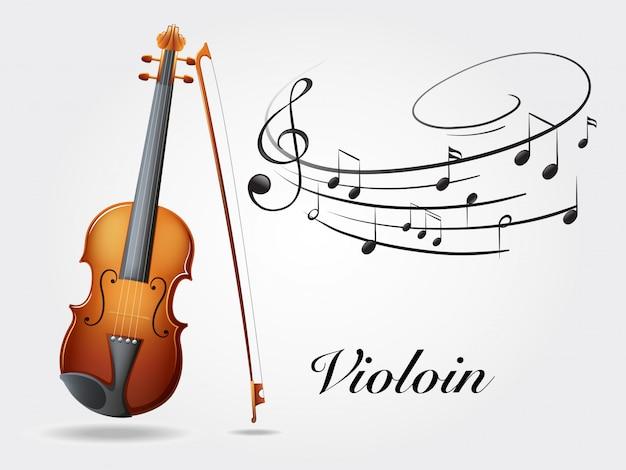 Skrzypce i muzyczne notatki na bielu