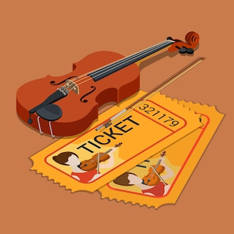 Skrzypce klasycznej orkiestry koncertowej koncert koncertowy bilet na obecność rezerwacja płaskiego izometrycznego