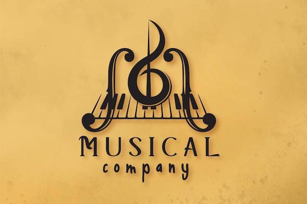 Skrzypce, klawisz fortepianu, wzory logo instrumentu muzycznego