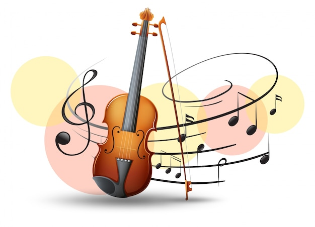Skrzypce z notatek muzycznych w tle