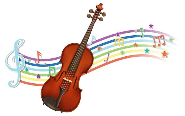 Skrzypce z symbolami melodii na fali tęczy