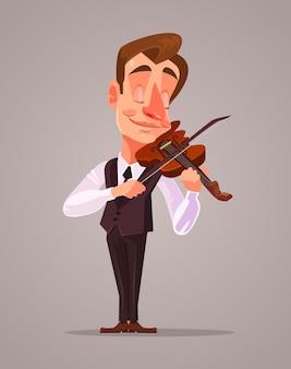 Skrzypek mężczyzna postać gra muzyka płaska ilustracja kreskówka