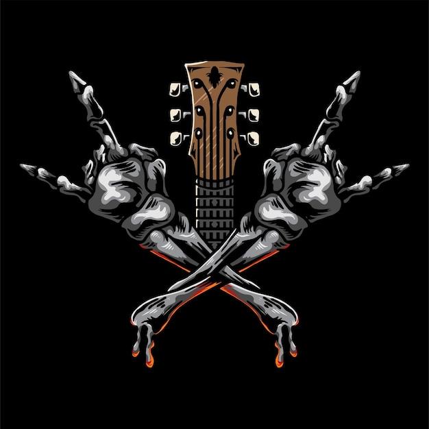 Skrzyżowane ręce czaszki rock and roll na białym tle z gitarą