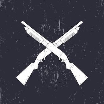 Skrzyżowane strzelby, karabiny myśliwskie, ilustracji wektorowych