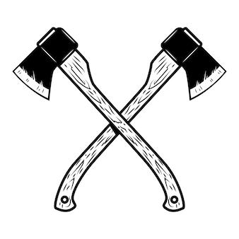 Skrzyżowane topory na białym tle. element na logo, etykietę, godło, znak, plakat. ilustracja