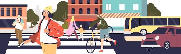 Skrzyżowanie drogi na przejściu scena życia miasta z grupą ludzi idących na zebrę na drugą stronę ulicy i czekających samochodów. bezpieczny ruch na koncepcji drogi. płaska ilustracja wektorowa