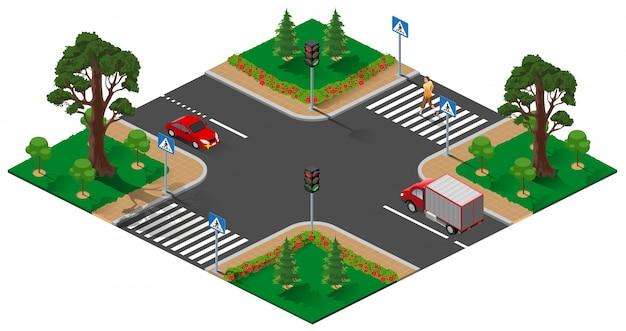 Skrzyżowanie ulicy z sygnalizacją świetlną. pieszy mężczyzna przecina drogę zebry
