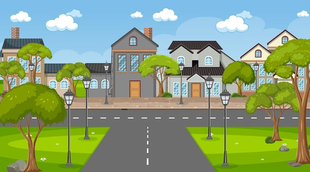 Skrzyżowanie z wieloma domami w tle