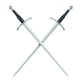 Skrzyżowany miecz na białym tle