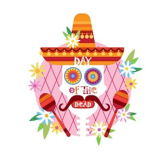 Skull day of dead concept tradycyjne meksykańskie halloween dia de los muertos zaproszenie na święto dekoracji świątecznej imprezy