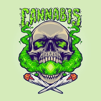 Skull head cannabis clouds smoking marihuana maskotka ilustracje