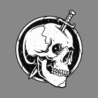 Skull horror sword art design ilustracja