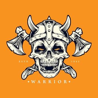 Skull viking warrior z ilustracjami topora i hełmu