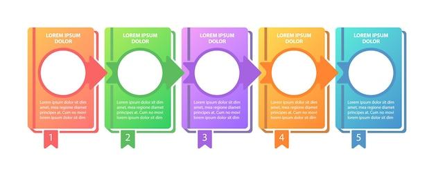 Skuteczne studium kroki infografikę szablon. edukacyjne elementy projektu prezentacji z miejscem na tekst.