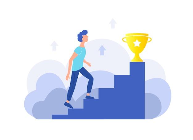 Skuteczność osobista, kariera, koncepcja sukcesu. facet wchodzi po schodach do złotego kubka. modna płaska konstrukcja.