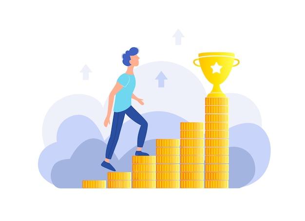 Skuteczność osobista, kariera, koncepcja sukcesu. facet wspina się po schodach z pieniędzmi do złotego kubka. modna płaska konstrukcja.